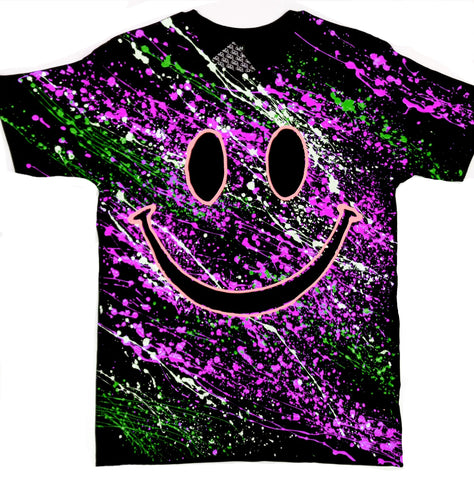GRIN T-SHIRT BLACK/PURPLE/GREEN