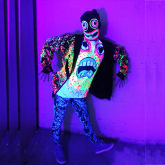 COUCHUK - UV REACTIVE - GRIN HOODIE - Clubwear - PLUR - Rave clothing
