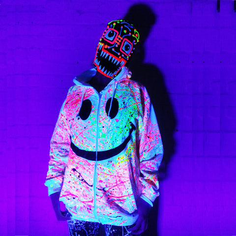 COUCHUK - UV REACTIVE - GRIN HOODIE WHITE - Clubwear - PLUR - Rave clothing