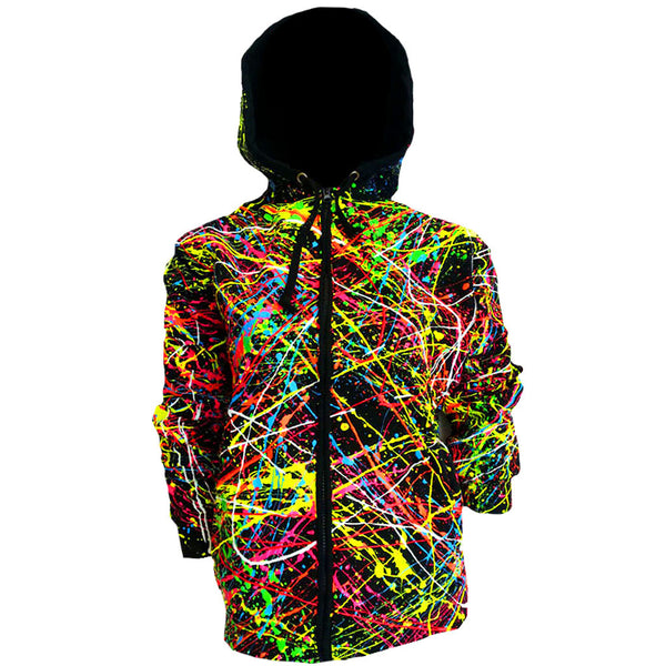 COUCHUK - UV REACTIVE - MULTI SPLAT HOODIE - Clubwear - PLUR - Rave clothing