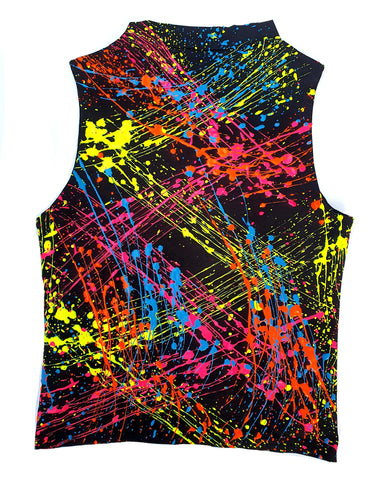 MULTI SPLAT HIGH NECK TOP