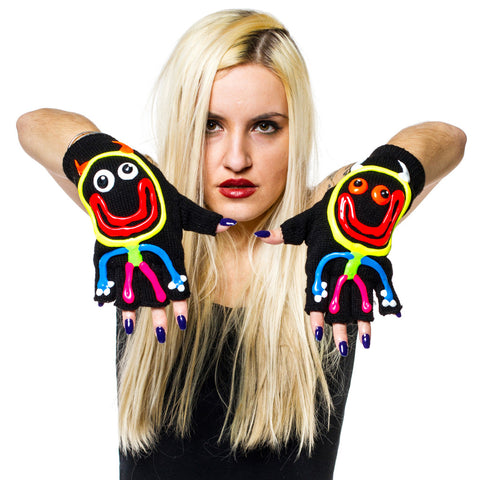COUCHUK - UV REACTIVE - HAND PAINTED GLOVES DEVIL MAN - Clubwear - PLUR - Rave clothing