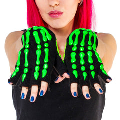 HAND PAINTED GLOVES SKELETON  green