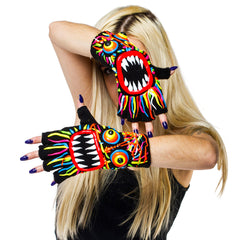 HAND PAINTED GLOVES MULTI COLOURED WILD HAIR