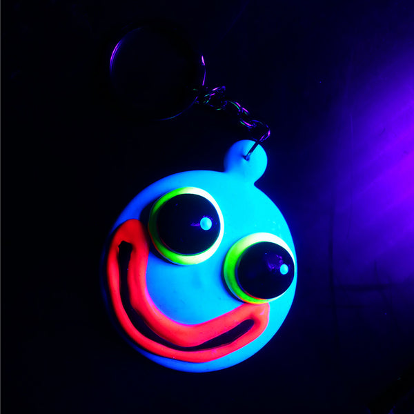 COUCHUK - UV REACTIVE - SPLODGE FACE KEYRING - Clubwear - PLUR - Rave clothing