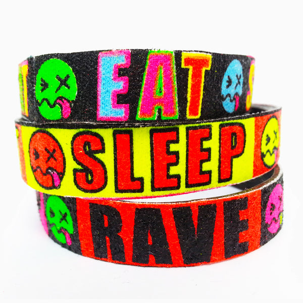 COUCHUK - UV REACTIVE - SLOGAN BANDS EAT SLEEP RAVE REPEAT THIN - Clubwear - PLUR - Rave clothing