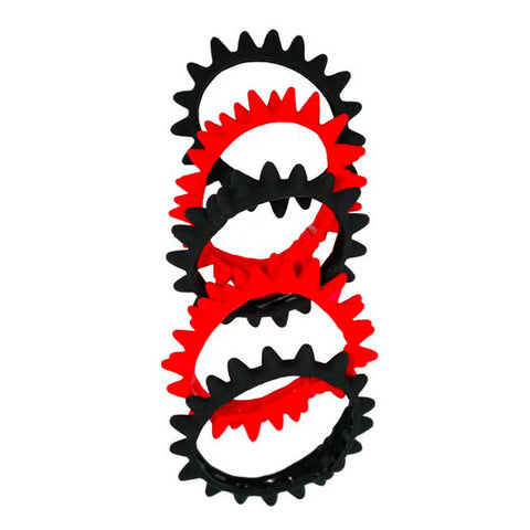 SPIKE BANDS BLACK/RED pack of 5