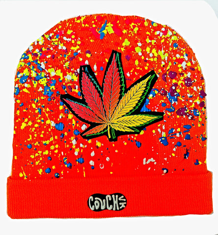 DOUBLE WEEDLEAF BEANIE ORANGE