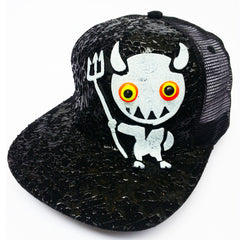 COUCHUK - UV REACTIVE - LT DEVIL TRUCKER CAP BLACK - Clubwear - PLUR - Rave clothing