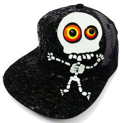 COUCHUK - UV REACTIVE - LT SKELETON TRUCKER CAP BLACK - Clubwear - PLUR - Rave clothing