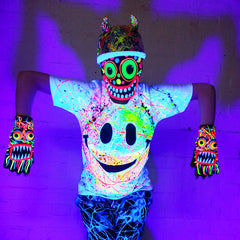 COUCHUK - UV REACTIVE - ART ON BEANIE no.6 - Clubwear - PLUR - Rave clothing