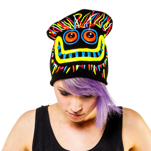 COUCHUK - UV REACTIVE - ART ON BEANIE no.8 - Clubwear - PLUR - Rave clothing