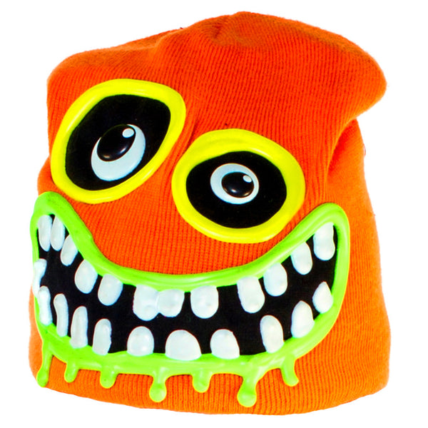 COUCHUK - UV REACTIVE - ART ON BEANIE PUMPKIN YELLOW - Clubwear - PLUR - Rave clothing