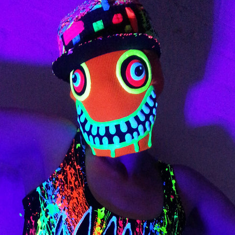 COUCHUK - UV REACTIVE - ART ON BEANIE PUMPKIN - Clubwear - PLUR - Rave clothing