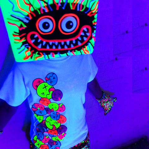 COUCHUK - UV REACTIVE - ART ON BEANIE WILD HAIR YELLOW - Clubwear - PLUR - Rave clothing