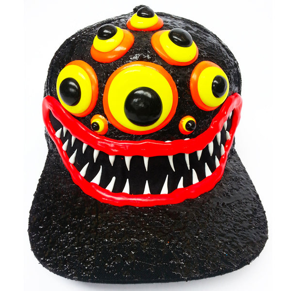 COUCHUK - UV REACTIVE - ART ON CAP BLACK/BLACK SPIDER EYES - Clubwear - PLUR - Rave clothing