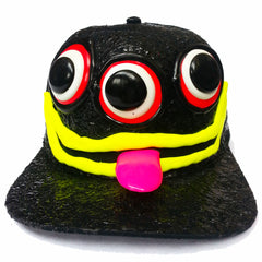 COUCHUK - UV REACTIVE - ART ON CAP BLACK/BLACK TONGUE 3 EYES - Clubwear - PLUR - Rave clothing