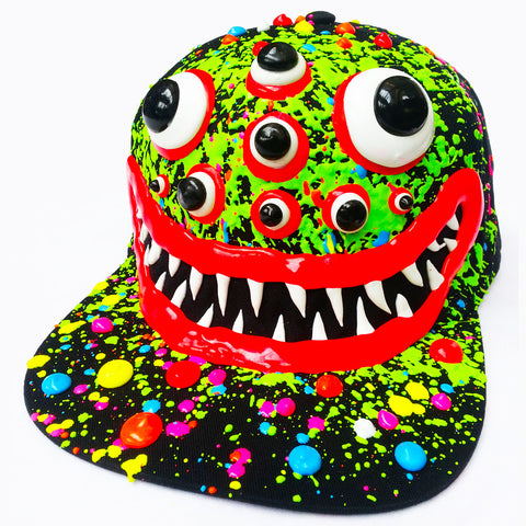 COUCHUK - UV REACTIVE - ART ON CAP BLACK/GREEN SPIDER EYES - Clubwear - PLUR - Rave clothing