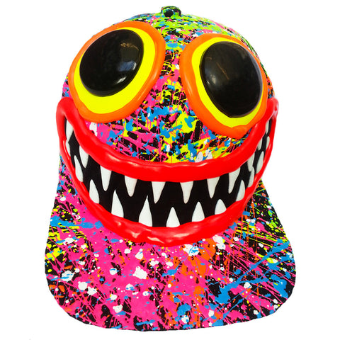 COUCHUK - UV REACTIVE - ART ON CAP BLACK/MULTI SPLASH BIG EYES BIG GRIN - Clubwear - PLUR - Rave clothing