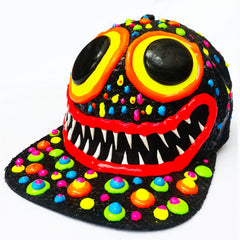COUCHUK - UV REACTIVE - ART ON CAP BLACK/MULTI BLOB BIG EYES BIG GRIN - Clubwear - PLUR - Rave clothing