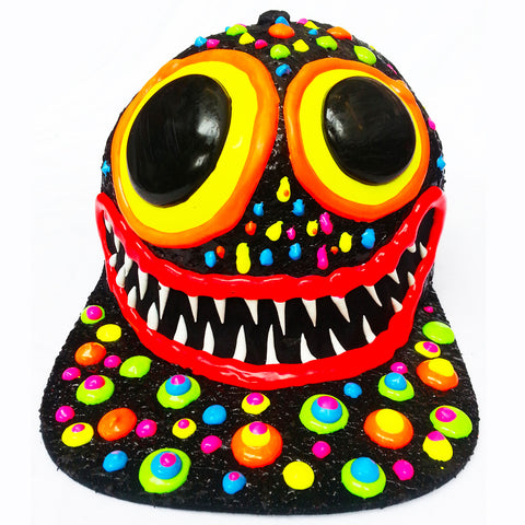 ART ON CAP BLACK/MULTI BLOB BIG EYES BIG GRIN