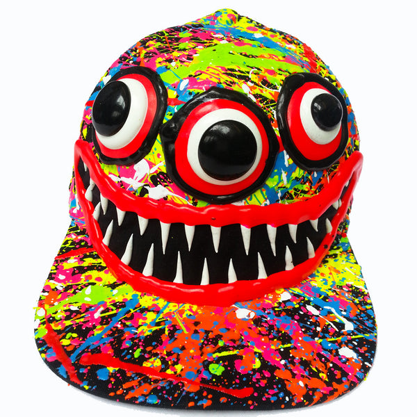 COUCHUK - UV REACTIVE - ART ON CAP BLACK/MULTI TEETH - Clubwear - PLUR - Rave clothing