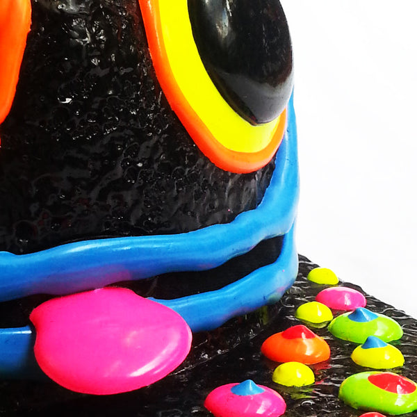 COUCHUK - UV REACTIVE - ART ON CAP BLACK/MULTI BLOB GREEN EARS - Clubwear - PLUR - Rave clothing