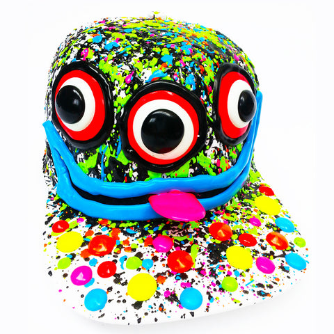 COUCHUK - UV REACTIVE - ART ON CAP WHITE/MULTI 3 EYES - Clubwear - PLUR - Rave clothing