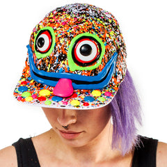 COUCHUK - UV REACTIVE - ART ON CAP WHITE/MULTI BIG EYES TONGUE - Clubwear - PLUR - Rave clothing