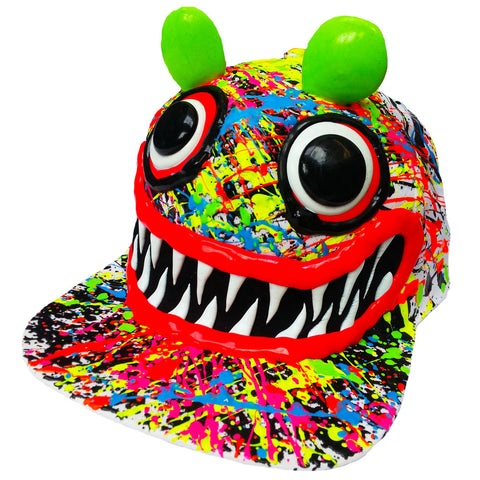 COUCHUK - UV REACTIVE - ART ON CAP WHITE/MULTI GREEN EARS - Clubwear - PLUR - Rave clothing