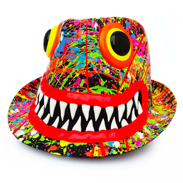 COUCHUK - UV REACTIVE - ART ON TRILBY BLACK RED LIPS/TEETH - Clubwear - PLUR - Rave clothing