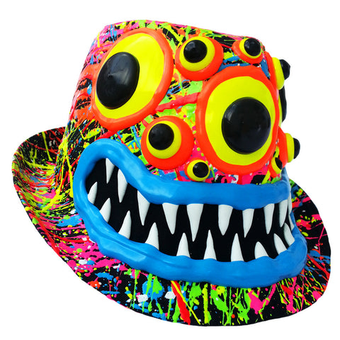 COUCHUK - UV REACTIVE - ART ON TRILBY BLACK SPIDER EYES BLUE LIPS - Clubwear - PLUR - Rave clothing