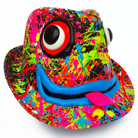 COUCHUK - UV REACTIVE - ART ON TRILBY BLACK PINK TONGUE/BLUE LIPS - Clubwear - PLUR - Rave clothing