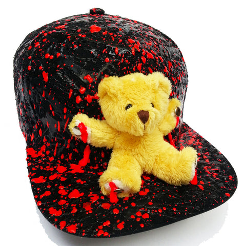 COUCHUK - UV REACTIVE - BEAR FLATPEAK CAP BLACK - Clubwear - PLUR - Rave clothing