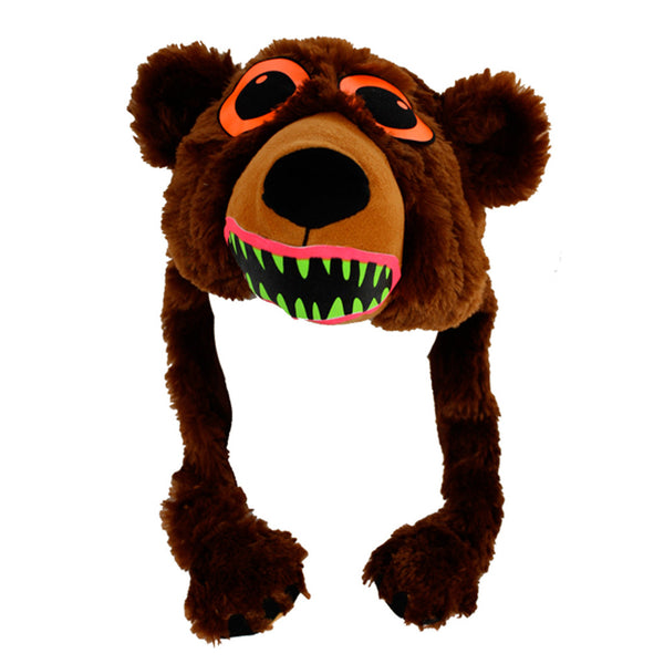 COUCHUK - UV REACTIVE - BEAR BROWN BEAST HAT - Clubwear - PLUR - Rave clothing
