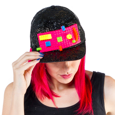 COUCHUK - UV REACTIVE - BLOCK CAP BLACK - Clubwear - PLUR - Rave clothing