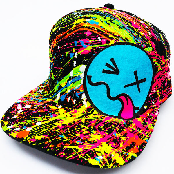 COUCHUK - UV REACTIVE - BLUE TONGUE CAP BLACK - Clubwear - PLUR - Rave clothing