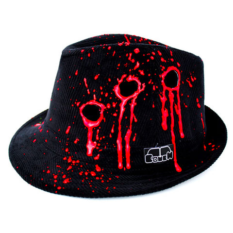 COUCHUK - UV REACTIVE - BULLET HOLE TRILBY BLACK - Clubwear - PLUR - Rave clothing