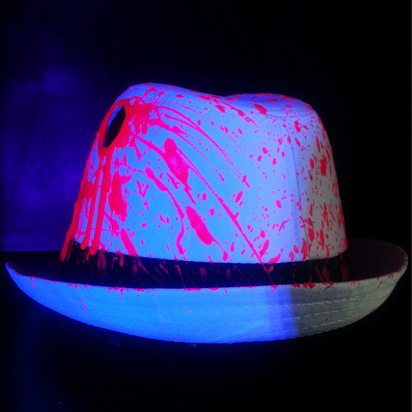 COUCHUK - UV REACTIVE - BULLET HOLE TRILBY WHITE - Clubwear - PLUR - Rave clothing