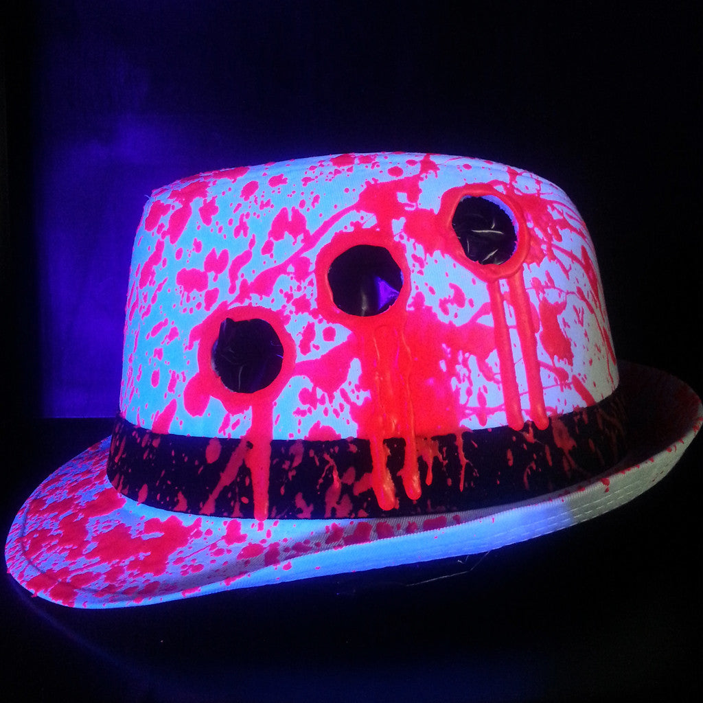 ... COUCHUK - UV REACTIVE - BULLET HOLE TRILBY WHITE - Clubwear - PLUR -  Rave clothing ... f8eb8bc299c