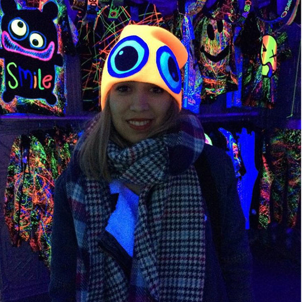 COUCHUK - UV REACTIVE - CLASSIC EYE BEANIE ORANGE - Clubwear - PLUR - Rave clothing