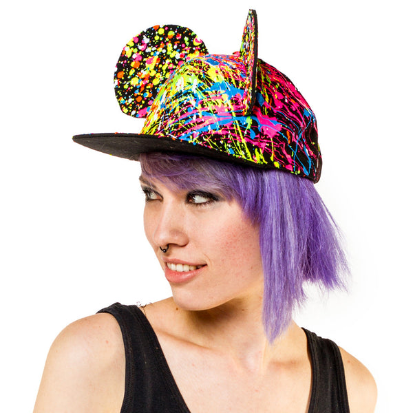 COUCHUK - UV REACTIVE - EARS FLATPEAK CAP BLACK - Clubwear - PLUR - Rave clothing
