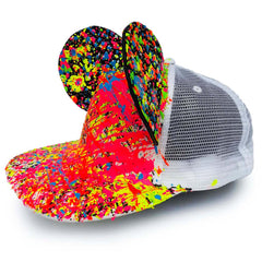 COUCHUK - UV REACTIVE - EARS TRUCKER CAP WHITE - Clubwear - PLUR - Rave clothing