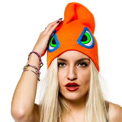 COUCHUK - UV REACTIVE - EVIL EYE BEANIE ORANGE - Clubwear - PLUR - Rave clothing