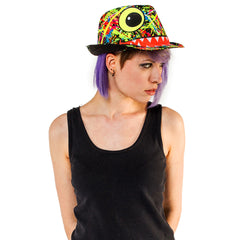 COUCHUK - UV REACTIVE - FACE TRILBY BLACK - Clubwear - PLUR - Rave clothing
