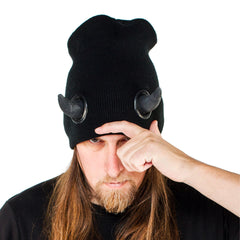 COUCHUK - UV REACTIVE - HORN BEANIE BLACK - Clubwear - PLUR - Rave clothing