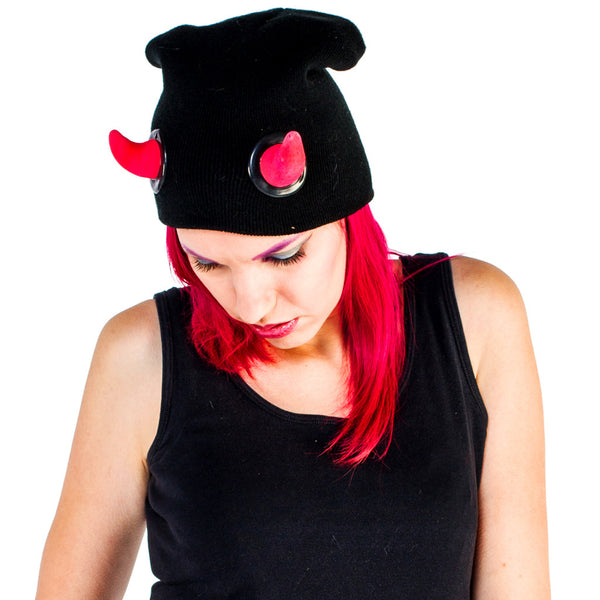 COUCHUK - UV REACTIVE - HORN BEANIE RED - Clubwear - PLUR - Rave clothing