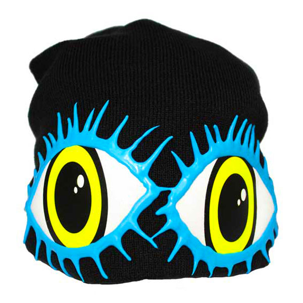 COUCHUK - UV REACTIVE - LASHES EYE BEANIE BLACK - Clubwear - PLUR - Rave clothing