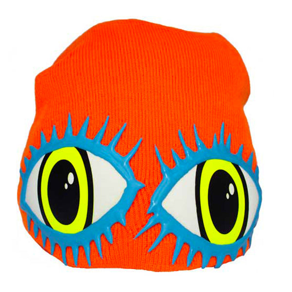 COUCHUK - UV REACTIVE - LASHES EYE BEANIE ORANGE - Clubwear - PLUR - Rave clothing