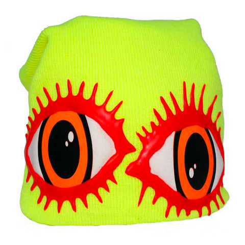 COUCHUK - UV REACTIVE - LASHES EYE BEANIE YELLOW - Clubwear - PLUR - Rave clothing